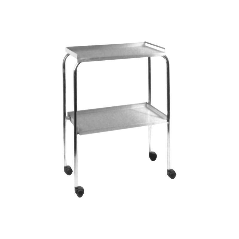 Mesita con estantes acero ruedas
